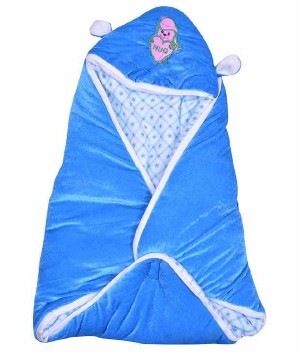 Kws Blue Poly Cotton Baby Wrap