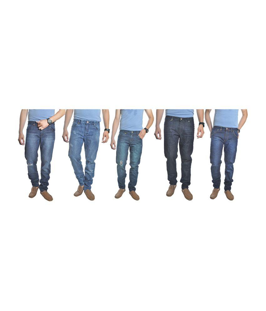 Reckler Blue Cotton Blend Denim Jeans (Combo of 5)