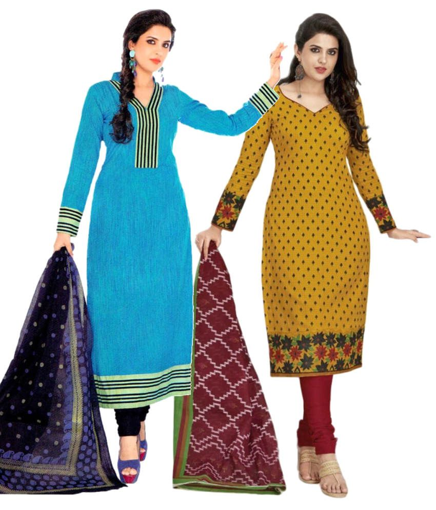 Shree Ganesh Blue and Yellow Cotton Unstitched Dress Material with Dupatta (Pack of 2)