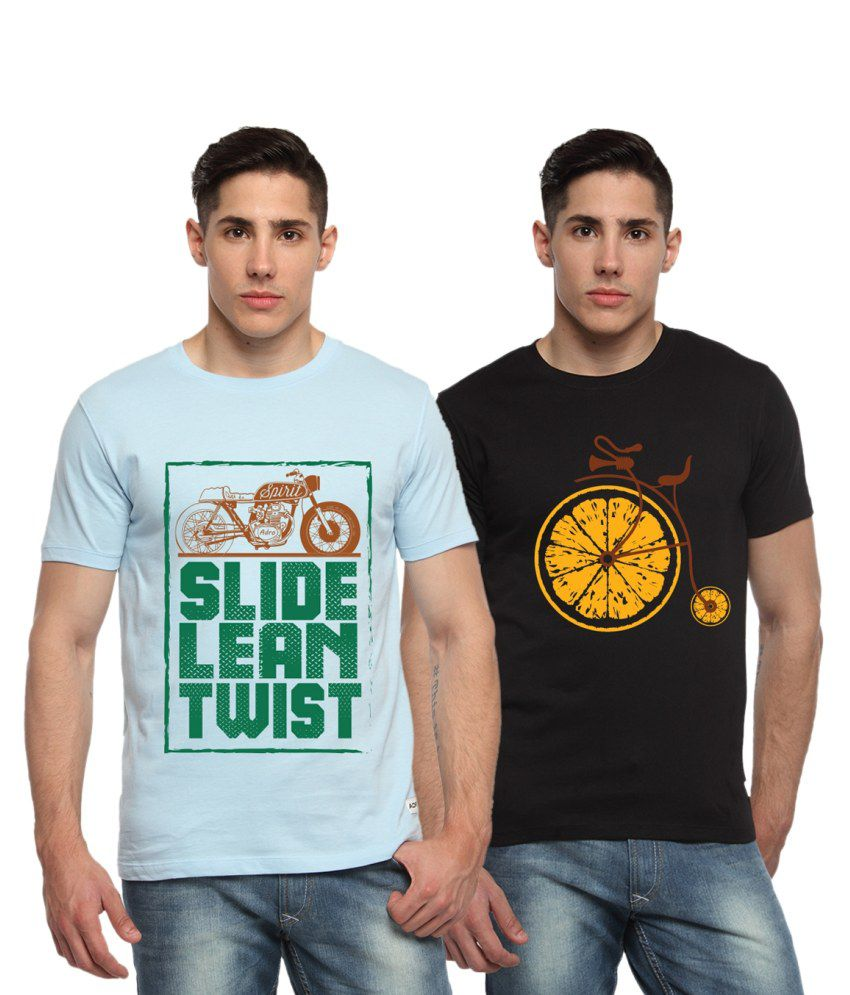 Adro Combo of Blue and Black Cotton Bike Printed T-shirts (Pack of 2)