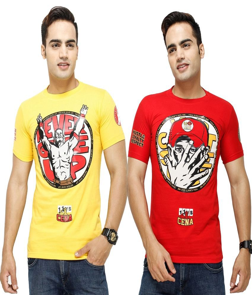 Blue Ocean Yellow and Red Cotton Blend Tshirt - Pack of 2