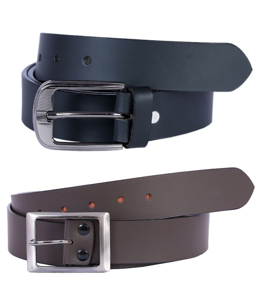 Hardy's Collection Multicolour Leather Formal Belt - Pack Of 2