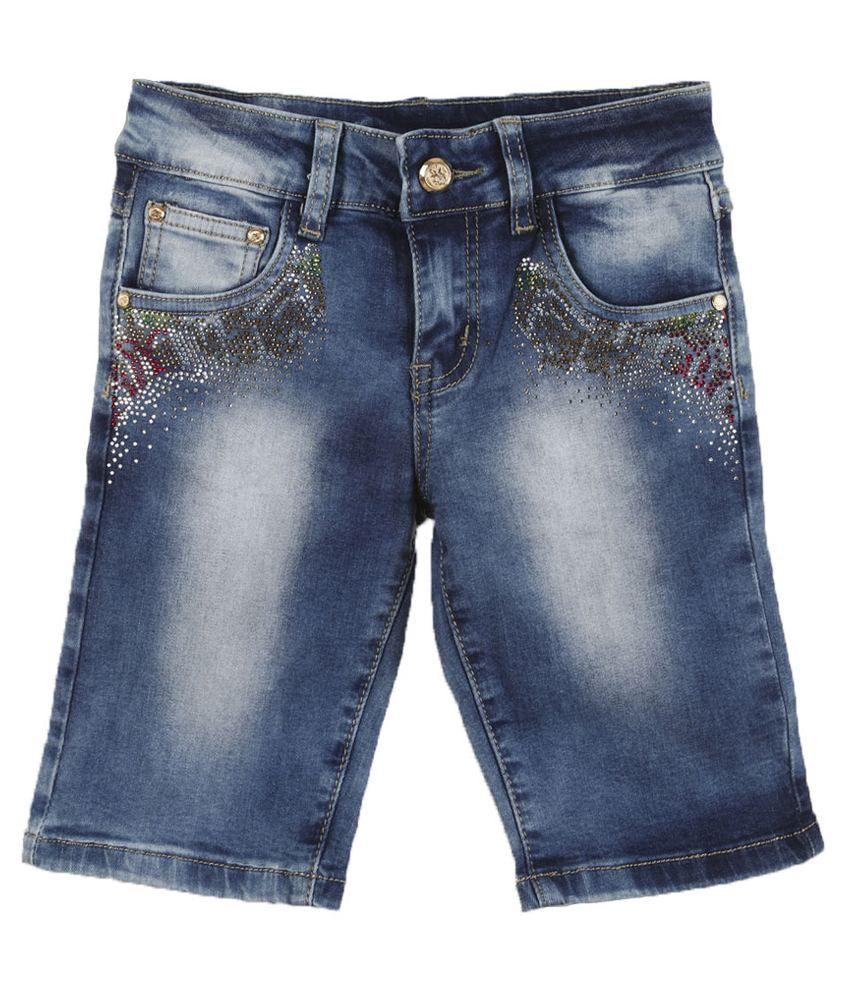 Lilliput Blue Cotton Spandex Shorts