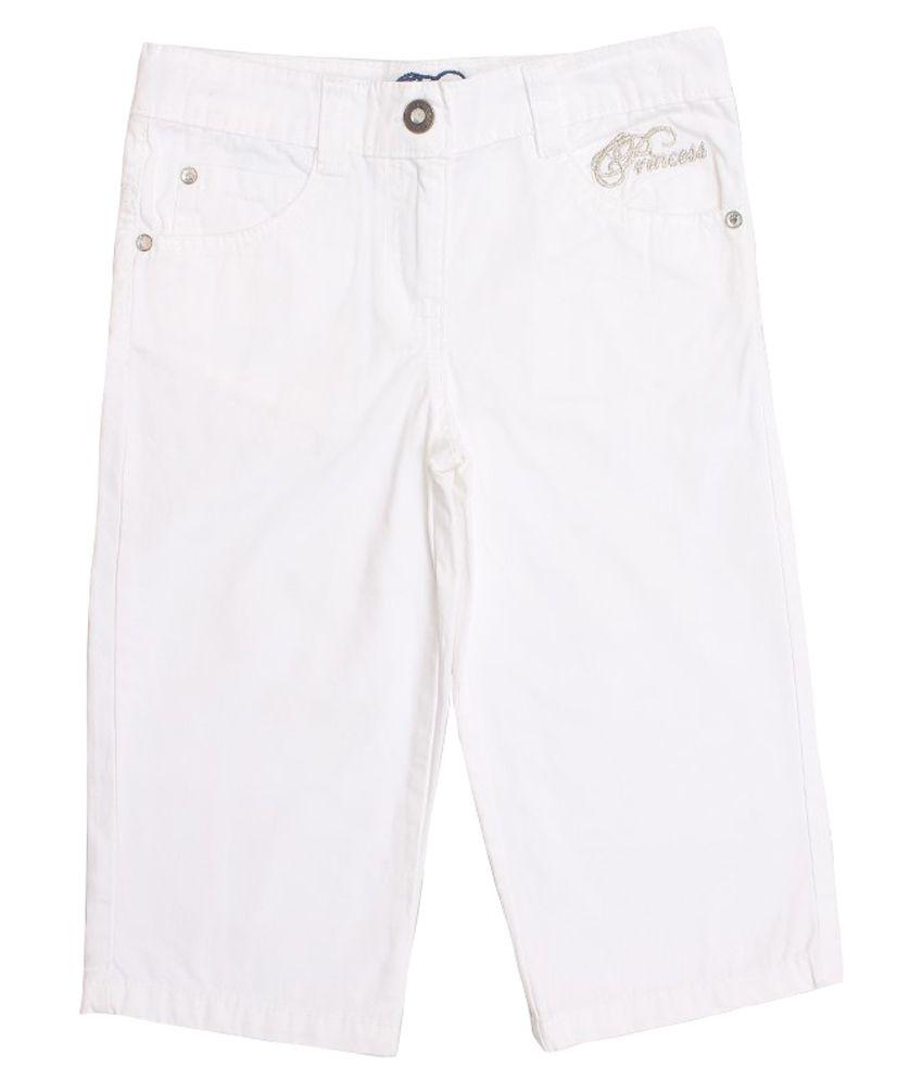 Lilliput White Cotton Capris