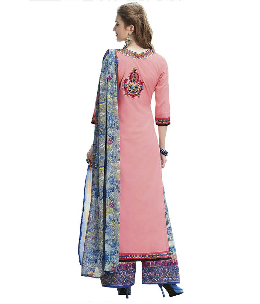 a39cef8e95 Riva Peach Cotton Pakistani Suits Unstitched Dress Material - Buy ...