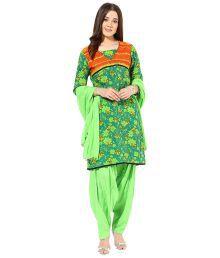 Jaipur Kurti Set Of Green & Orange Cotton Kurta, Patiala Salwar & Dupatta