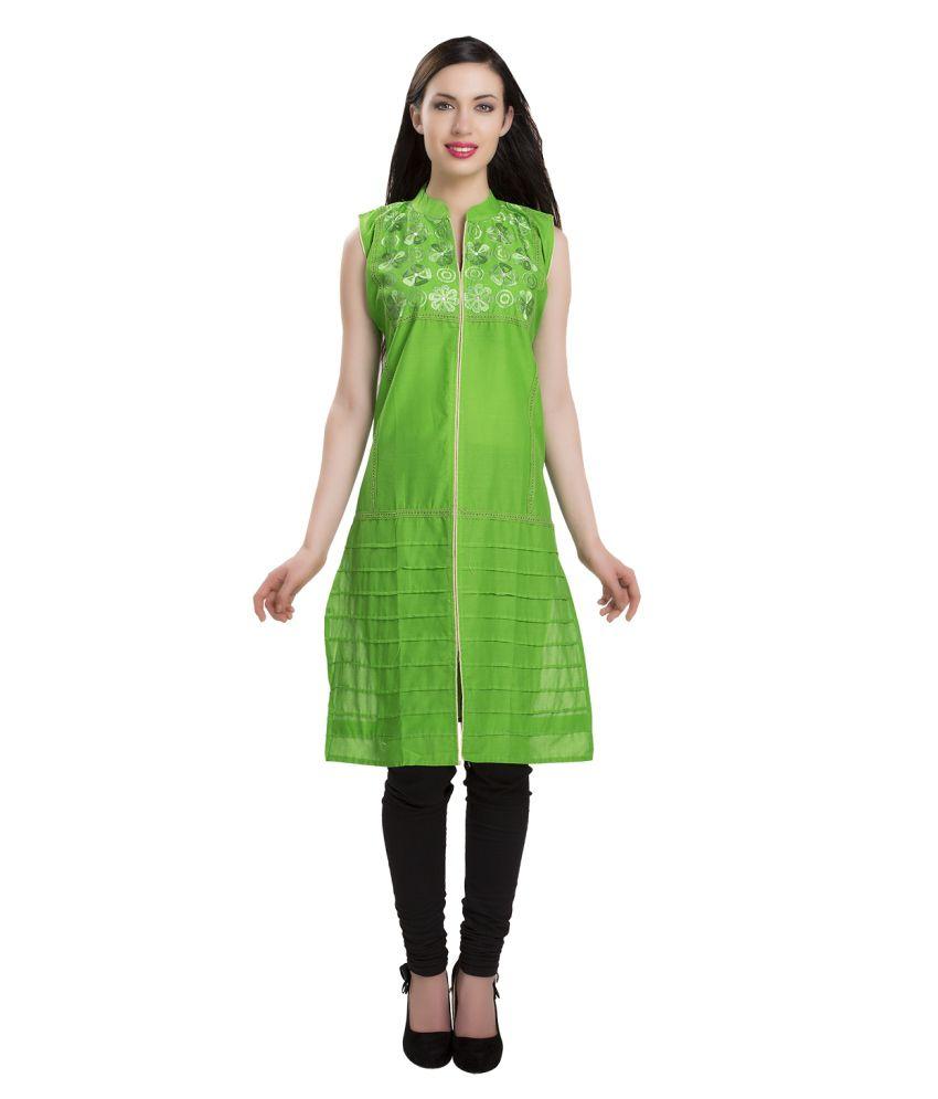 ISHIN Green Cotton Kurti