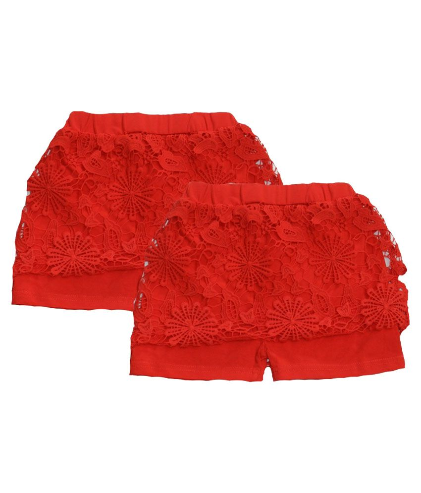 Rapchik Kid Red Cotton Shorts - Pack Of 2