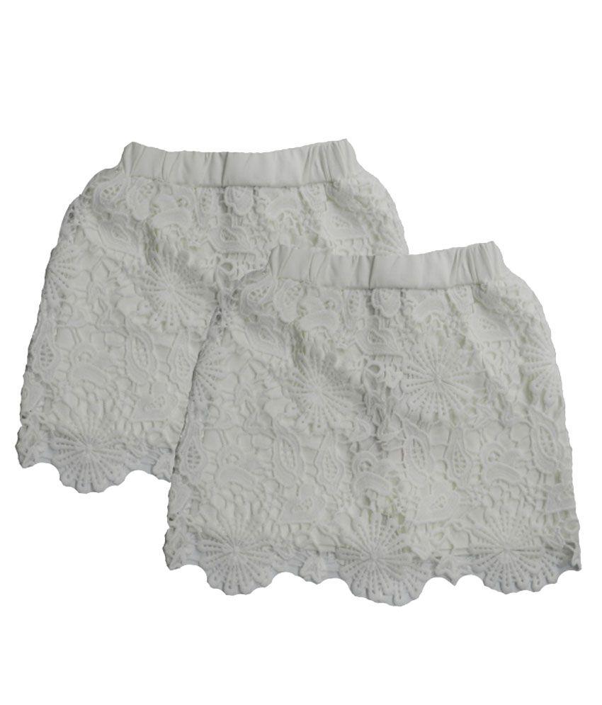 Rapchik Kid White Cotton Shorts - Pack Of 2