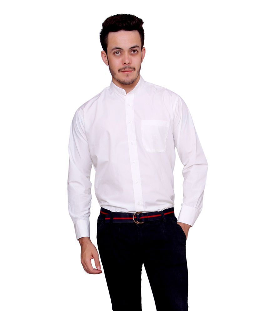 Stylum Branded Latest Chinese collar Off White Party Wear Men's Shirt
