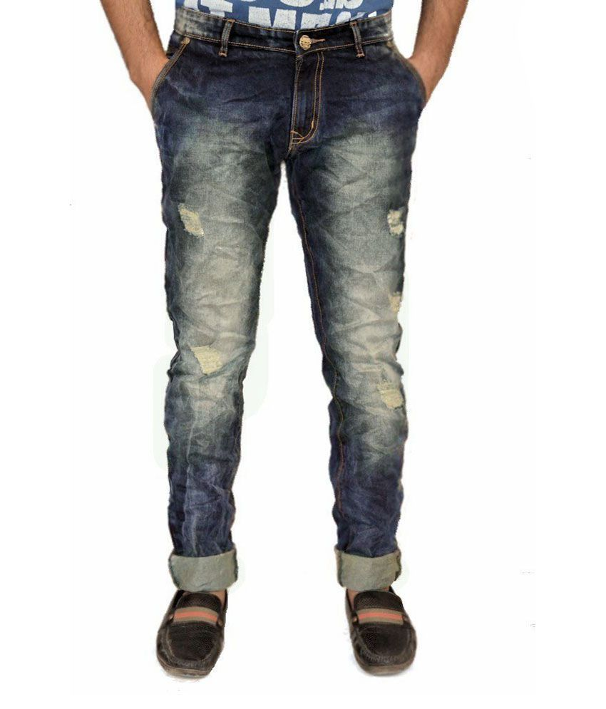 Cannabis Blue Slim Fit Jeans