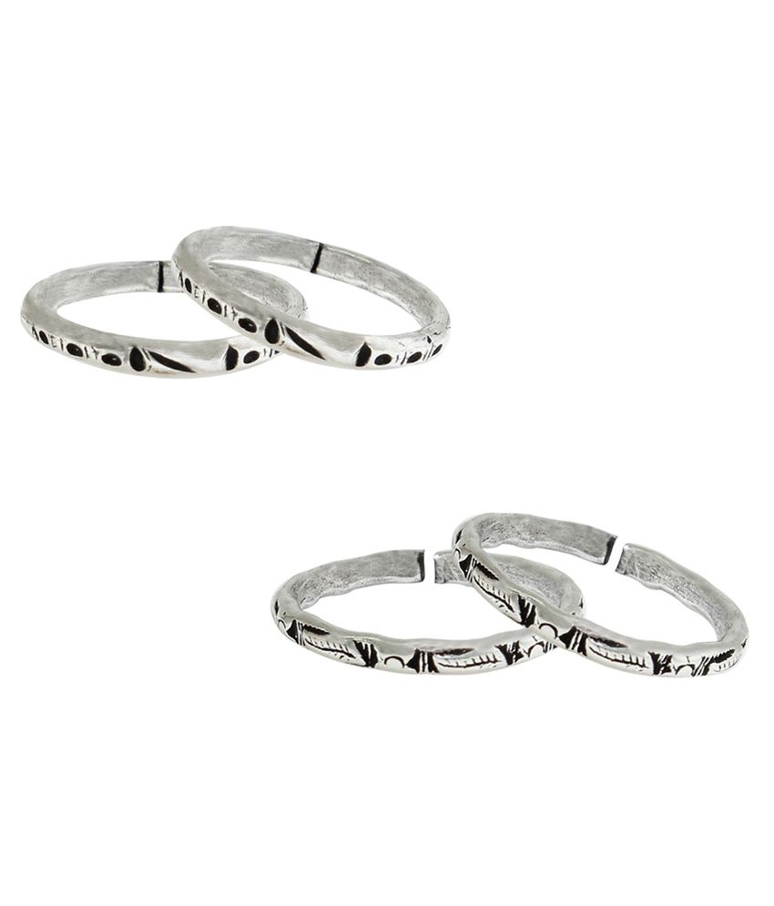 Frabjous Plain German Silver Toe Ring - Pack of 2