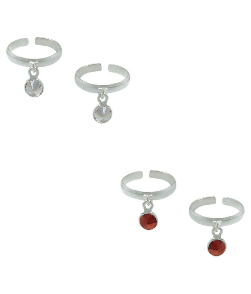 Frabjous Zircon German Silver Toe Ring - Pack of 2