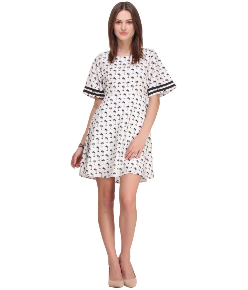 Nineteen White and Black Casual Polyester Short A Line Dress