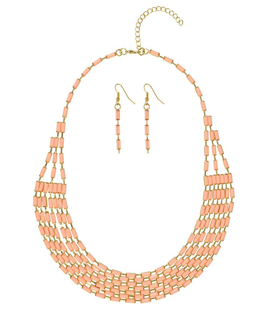 Sarah Pink Alloy Necklace Set