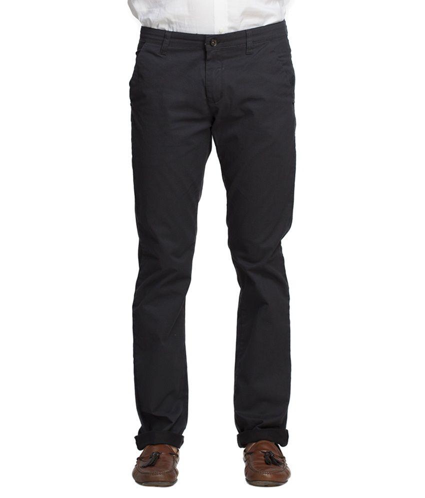Beevee Black Regular Fit Casual Trouser
