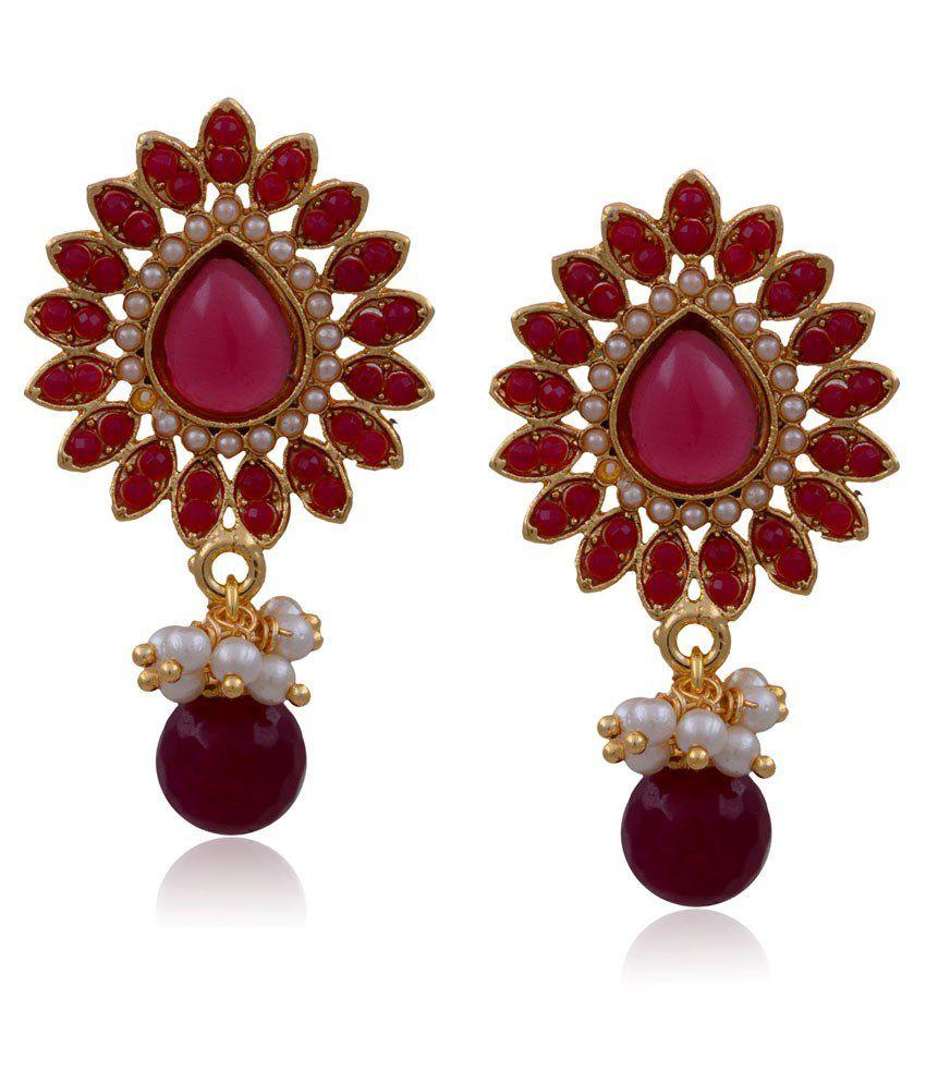 Hyderabad Jewels Red Copper Drop Earrings
