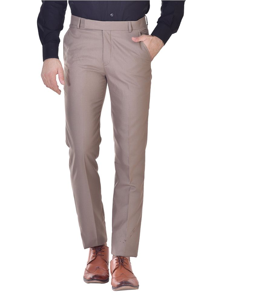 Kingswood Brown Poly Viscose Slim Fit Trouser