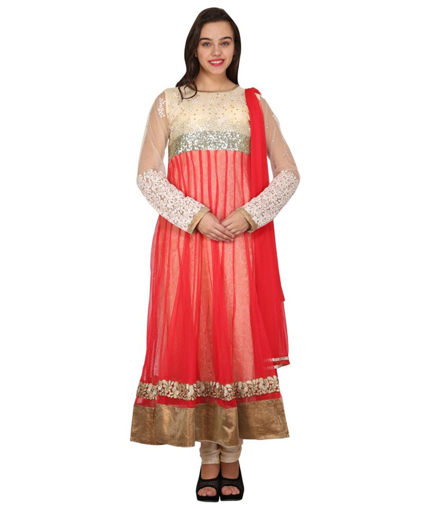 Mannat Collection Red Net Stitched Suit