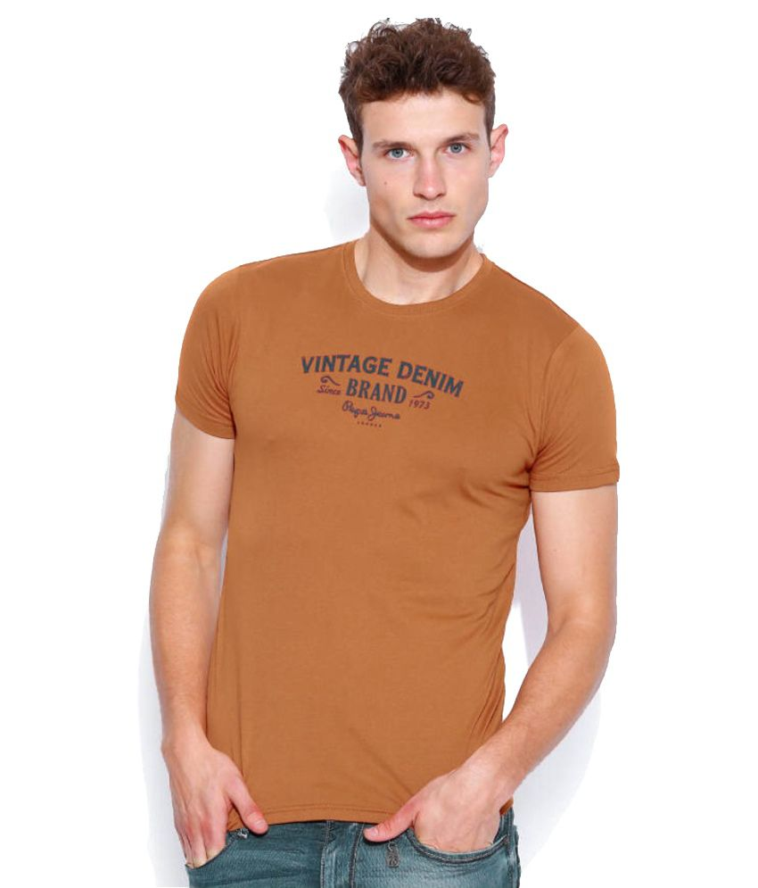 Pepe Jeans Brown Cotton Blend T-Shirt
