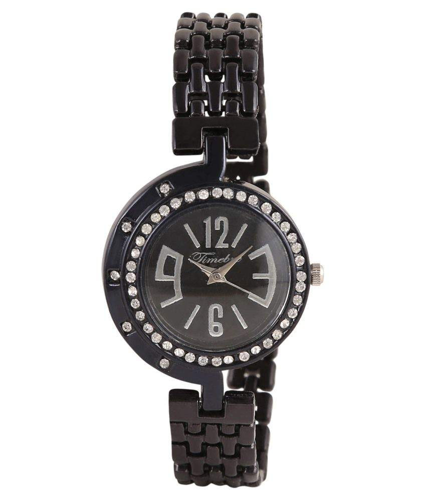 timebre women black diamond party watch price in india