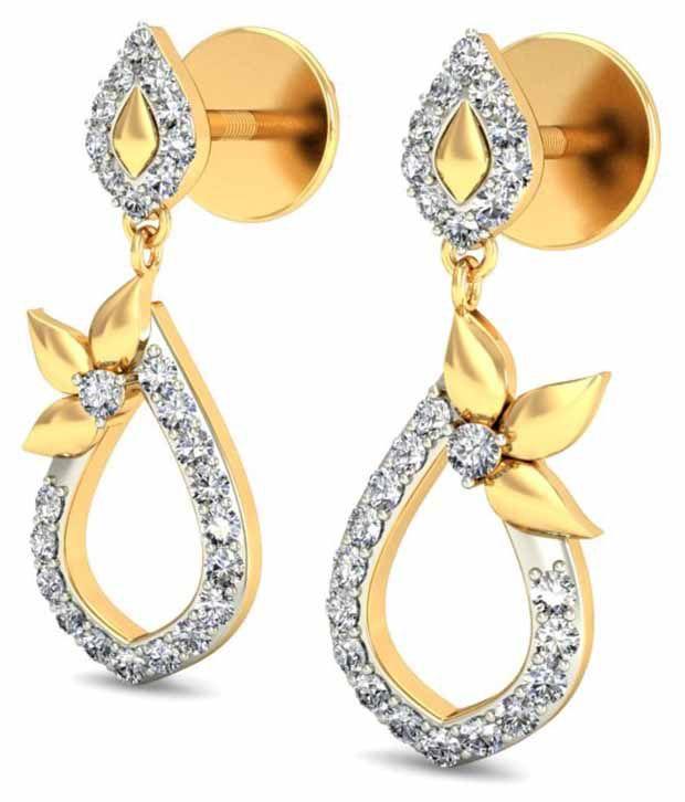 Timesdeals 18kt Gold Hallmarked Diamond Drop Earrings
