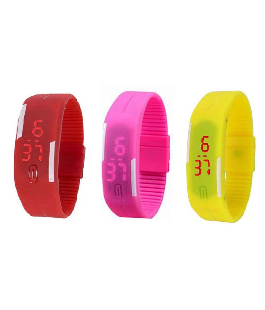 Lime Combo Of 3 Multicolour Rubber Wrist Watch