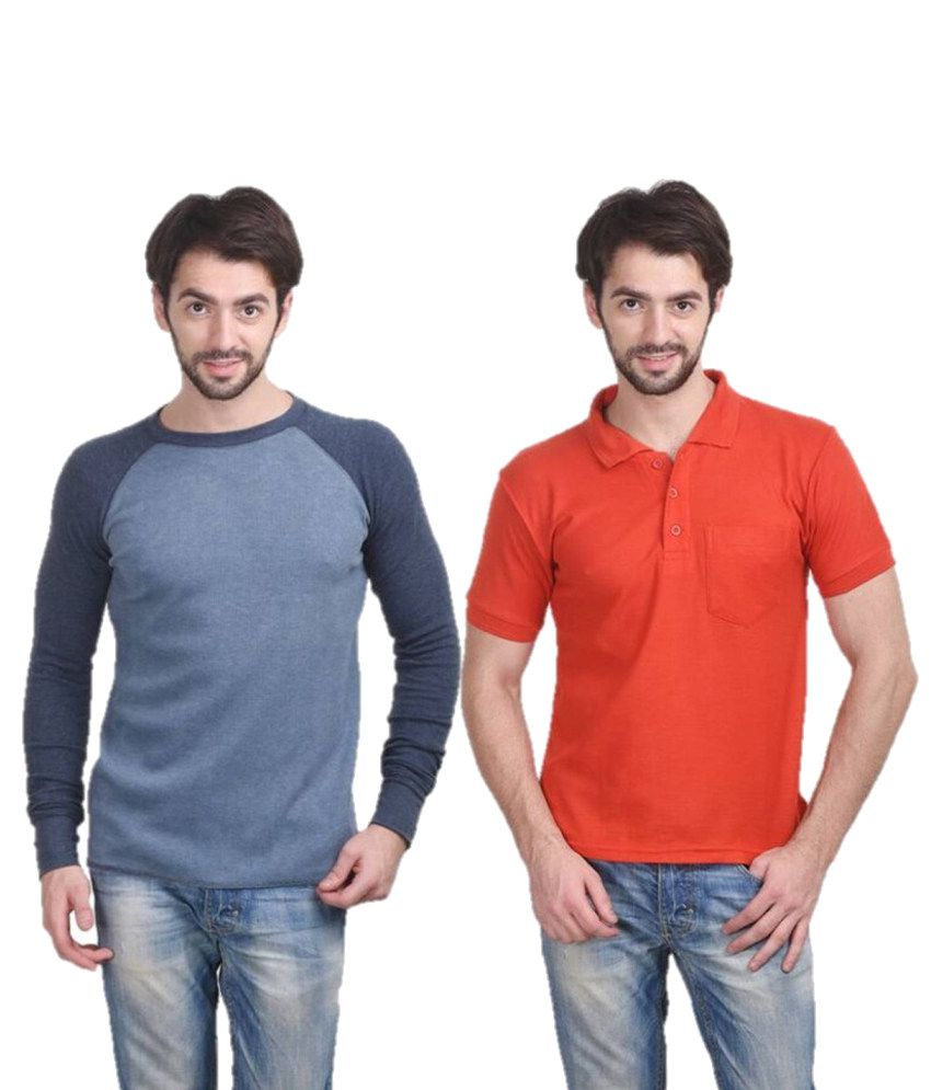 Stylogue Combo of Blue and Orange Blended Cotton T shirts