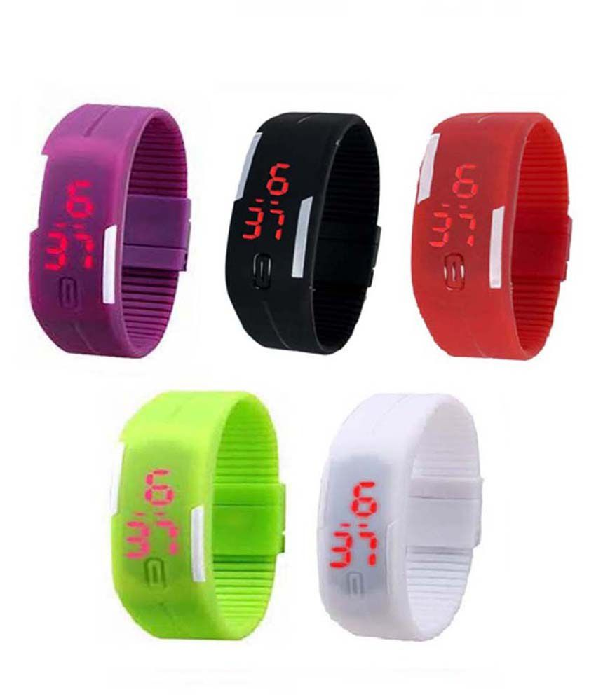 Lime Multicolour Rubber Watch Set Of 5