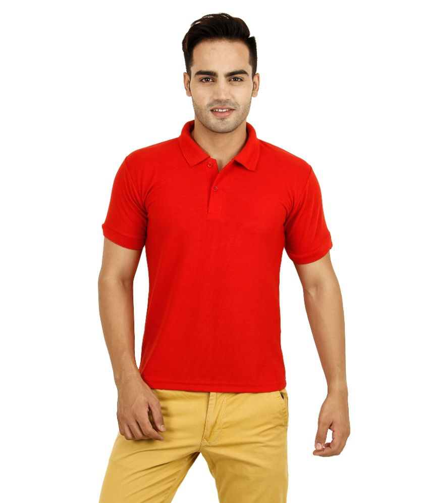Play And Polo Red Half Sleeve Soild Polo T-shirt