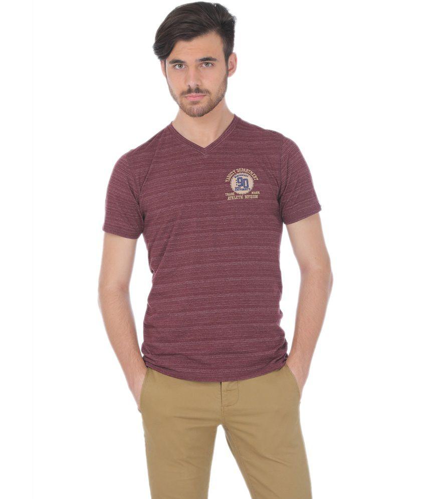 Basics Maroon Blended Cotton T-shirt