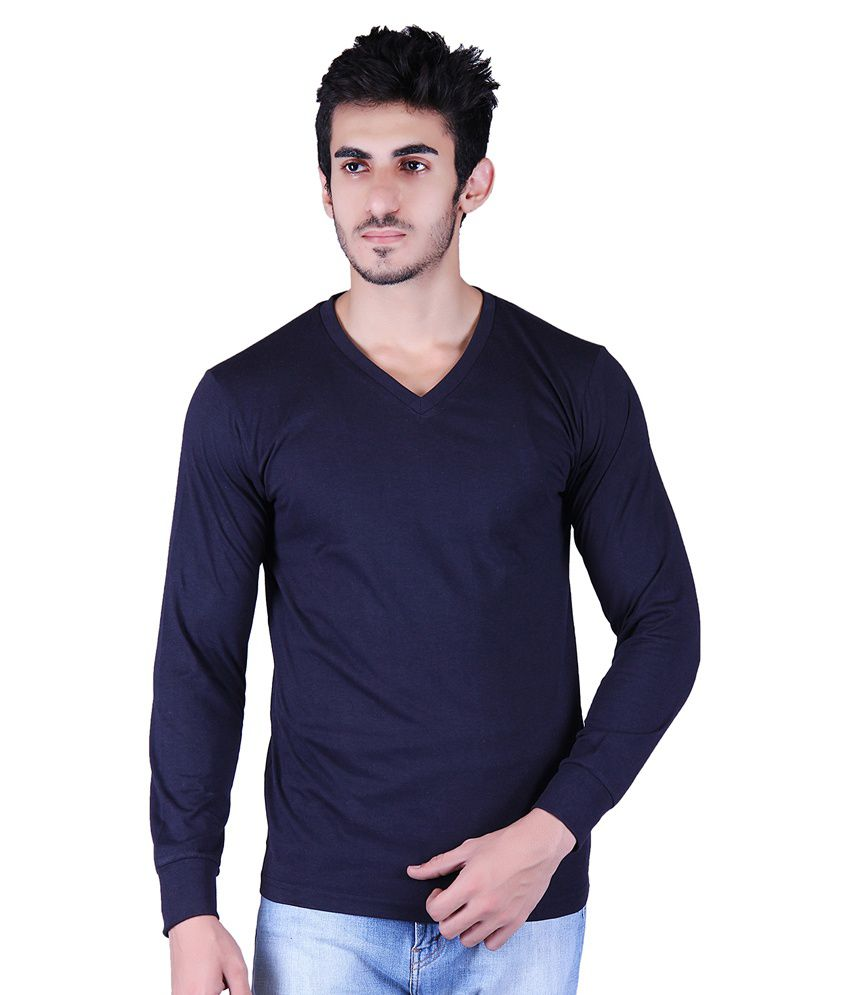 Vivid Bharti Navy Blue Cotton Blend Full Sleeves T-shirt