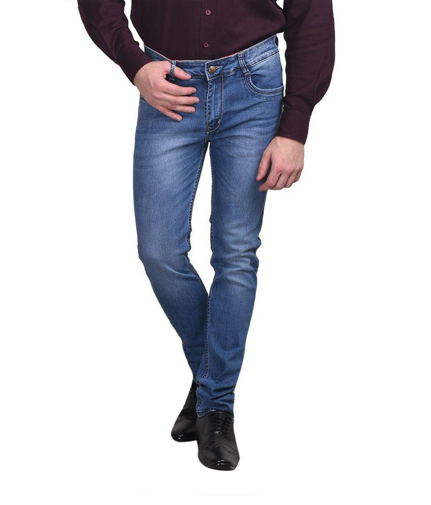 Ruace Blue Cotton Slim Fit Jeans