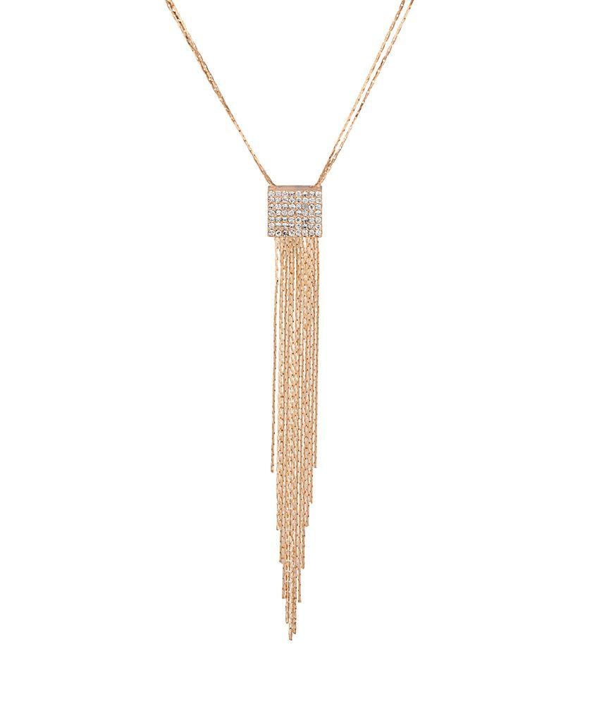 Voylla Golden Alloy Cz Necklace