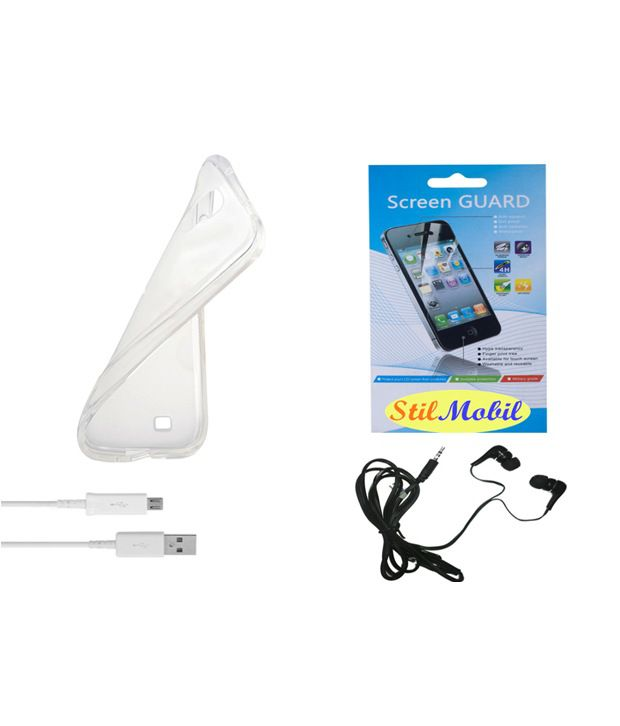 StilMobil Back Cover For Intex Aqua R4-Transparent With Screen Guard, Earphone & Data Cable