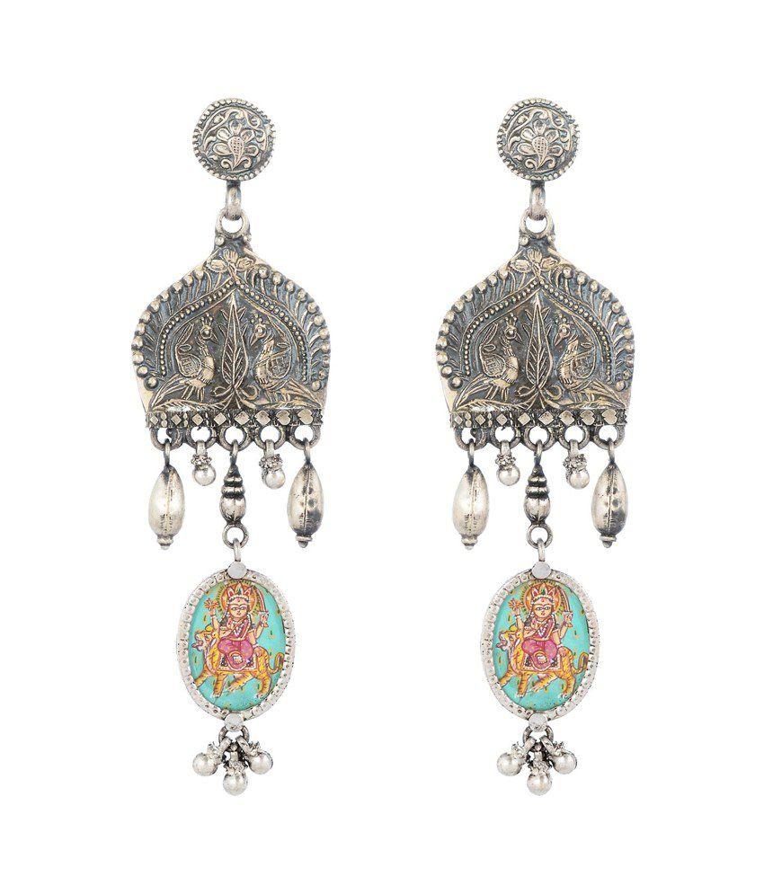 Jewels Of Jaipur Silver Drop Earrings