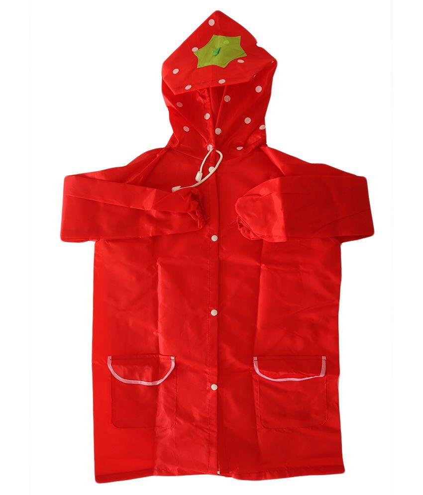 My Baby Things Red Strawberry Unisex Hooded Rain Coat