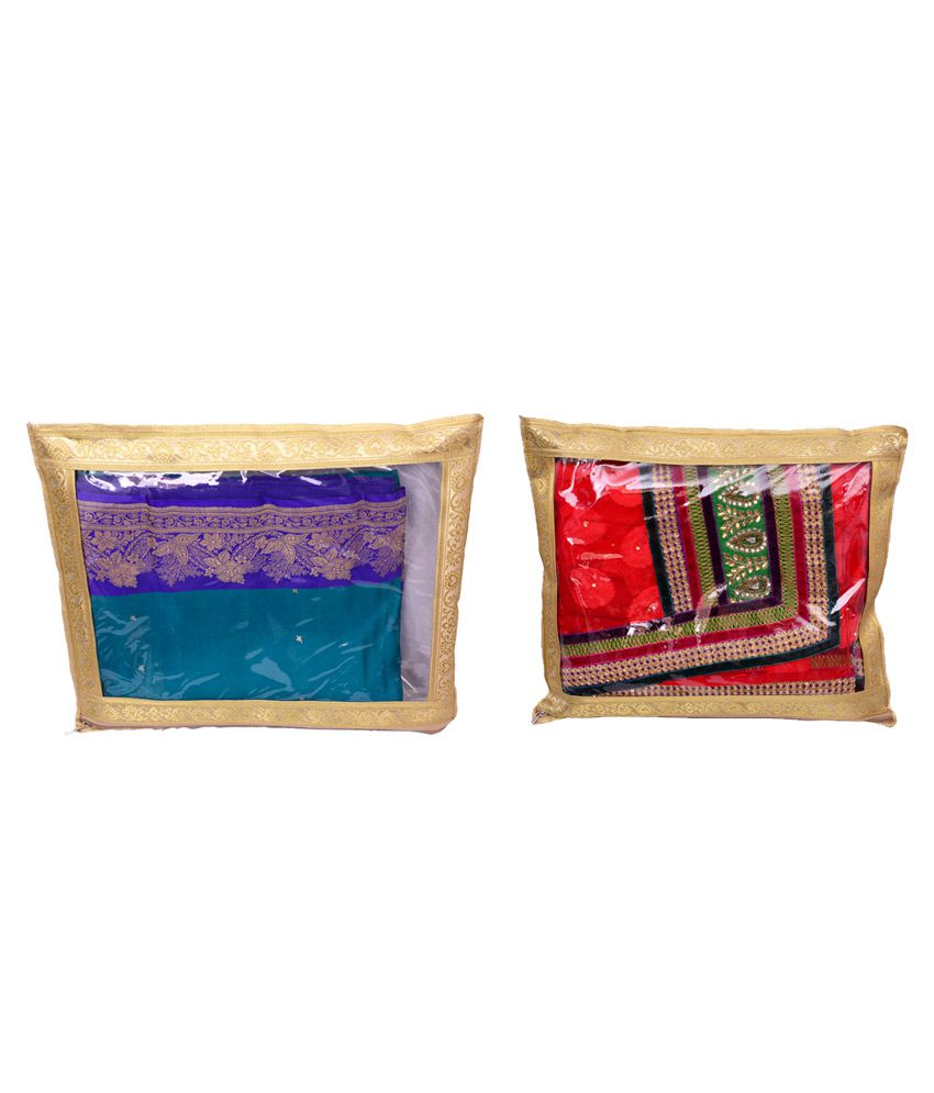 Inside Designs Gold Plastic And Tissue Saree Covers - Pack Of 2