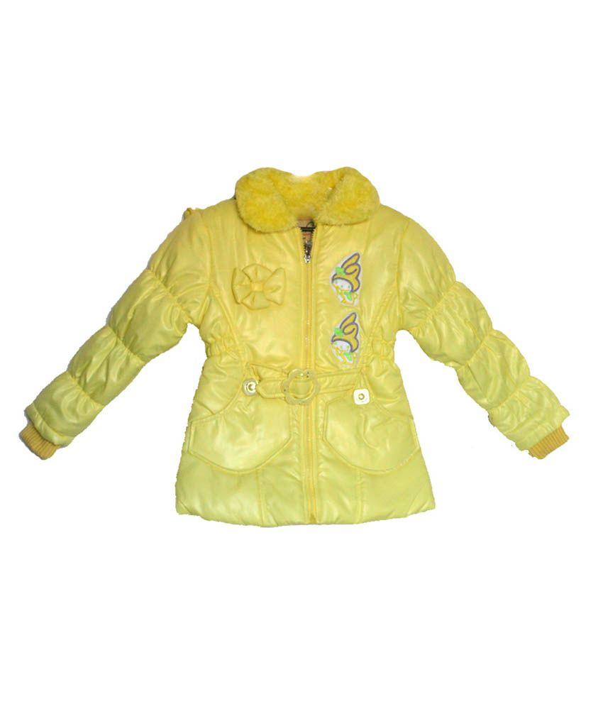 London Girl Light Yellow Hooded Jacket For Girls