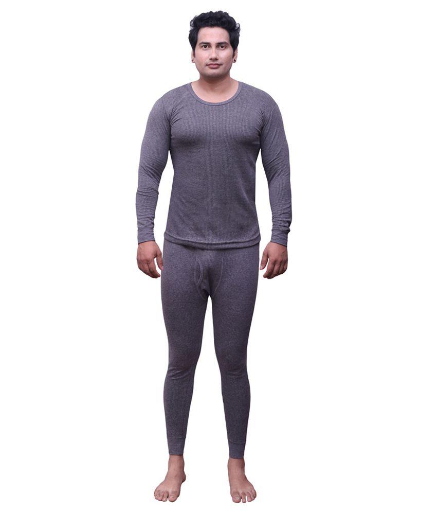 Selfcare Grey Cotton Blend Thermal Top And Pyjama Set