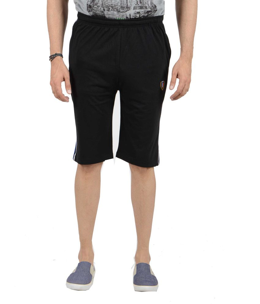 AJC Black Polyester Solids Shorts