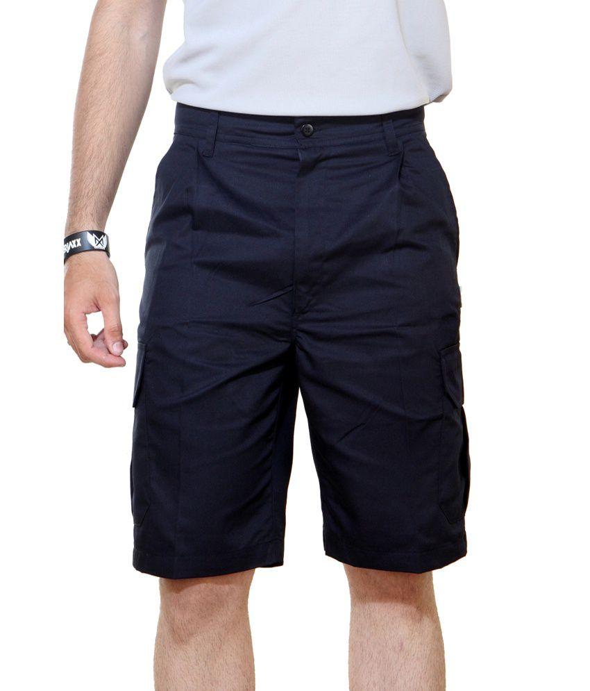 Ashdan Navy Cotton Blend Solids Shorts