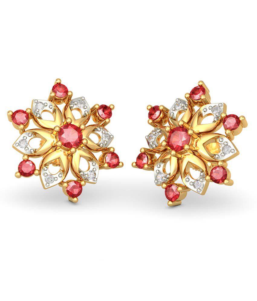 Bluestone 18kt Gold Diamond Ruby Dipali Earrings