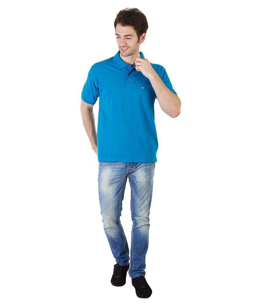 Rick And Masch Blue Half Basic Polo T Shirt
