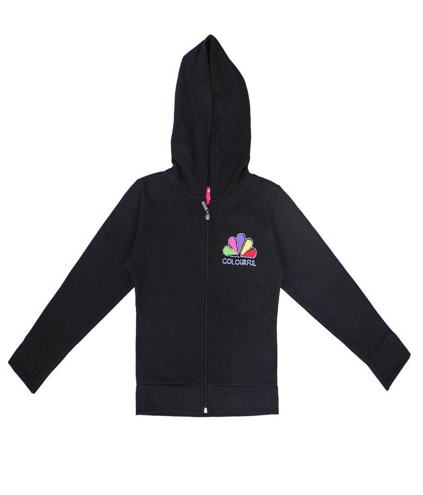 Sweet Angel Black Color Zipper Sweatshirt For Kids