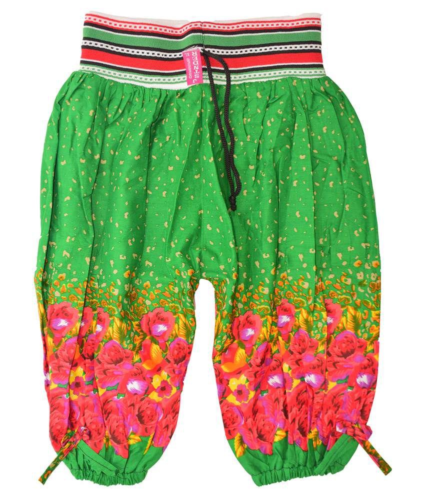 Adaab Green Cotton Capris