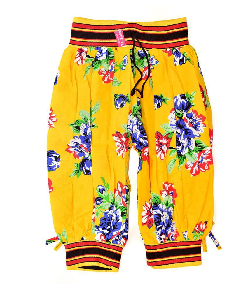 Adaab Yellow Cotton Capris - Pack of 2