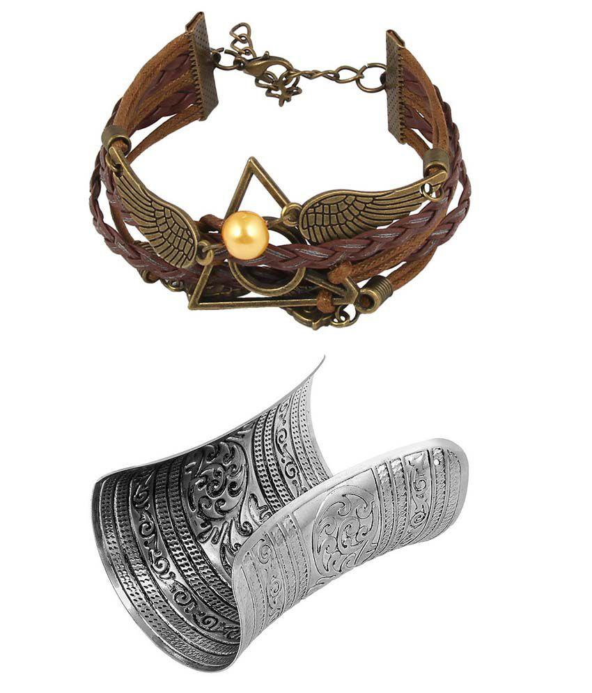 JEWELIZER Multi strand Charm Bracelet Combo for Women