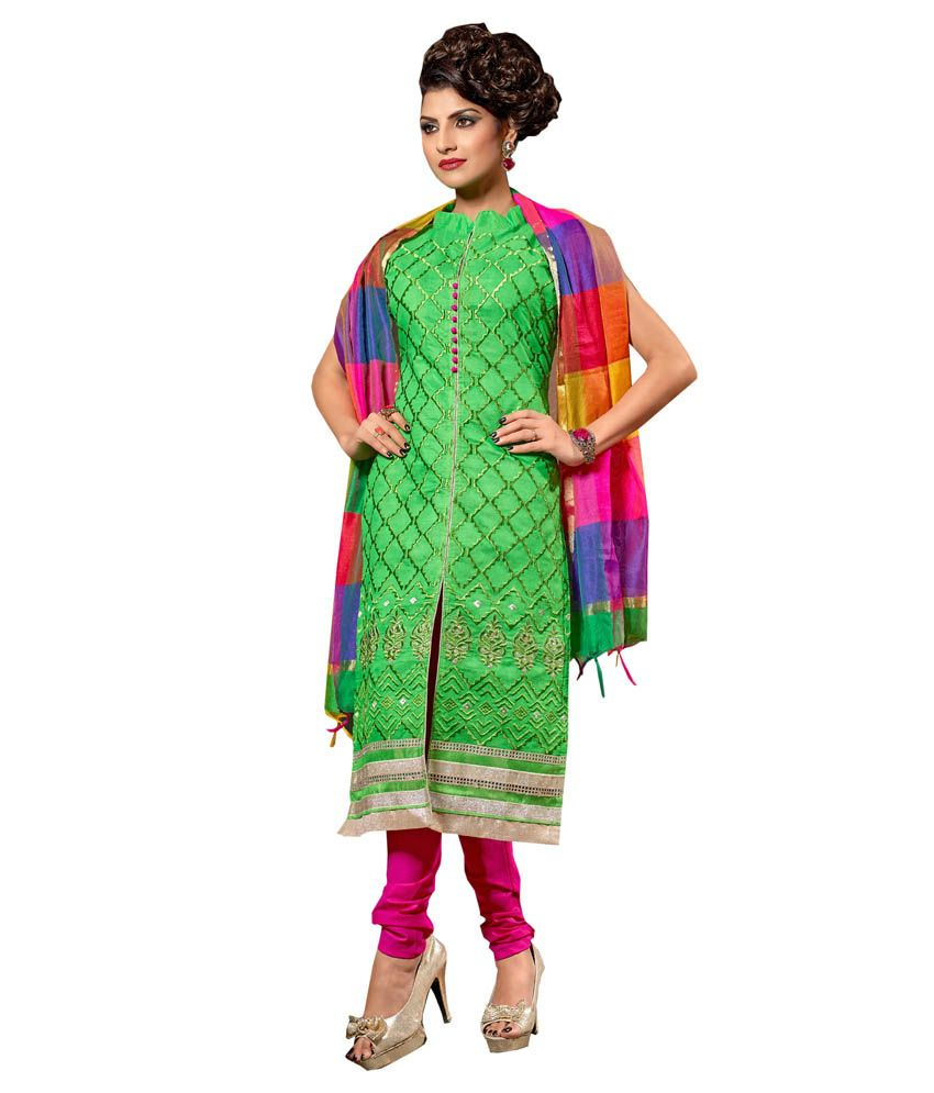 Khoobee Green Chanderi Unstitched Dress Material