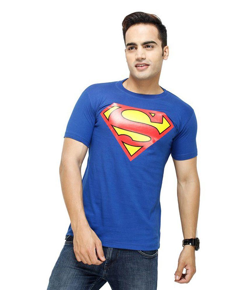 Unique Blue Cotton Blend Half Sleeves T-shirt